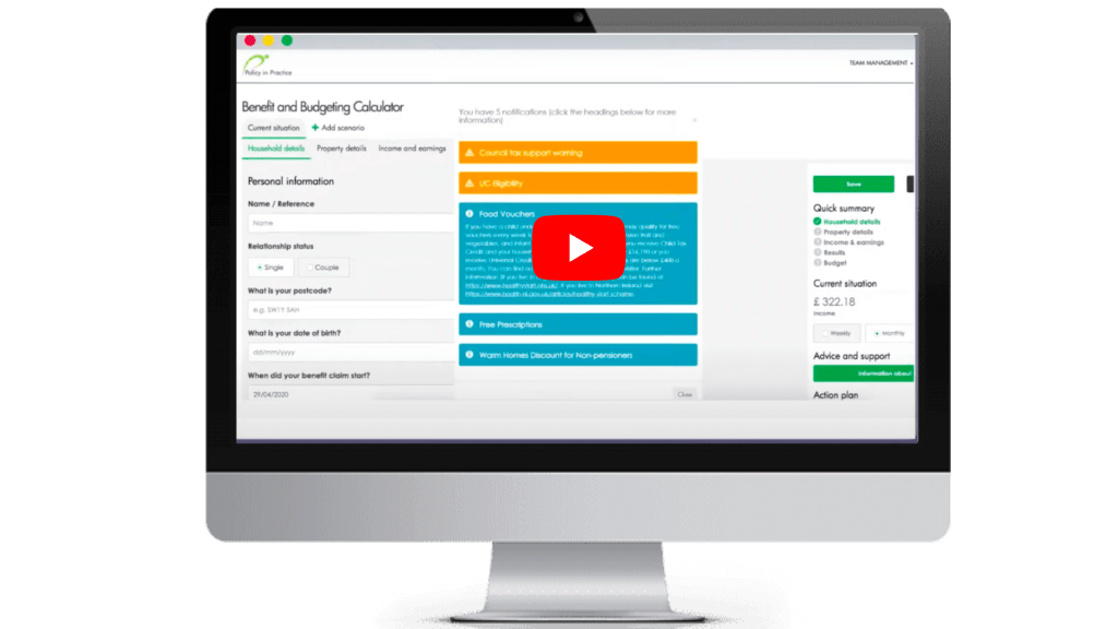 Policy in Practice Benefit and Budgeting Calculator demo