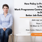 Image of woman waiting for job interview to promote a webinar for Policy in Practice's Better Off In Work software