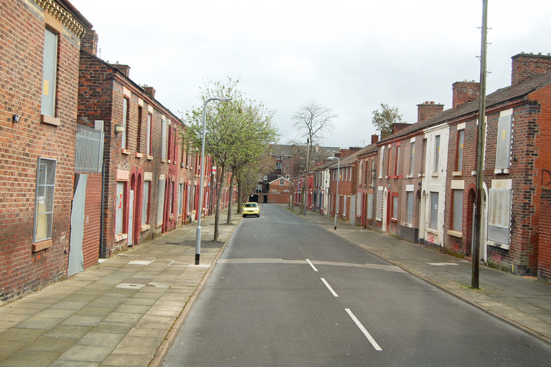 Street of derelict houses condemned for demolition