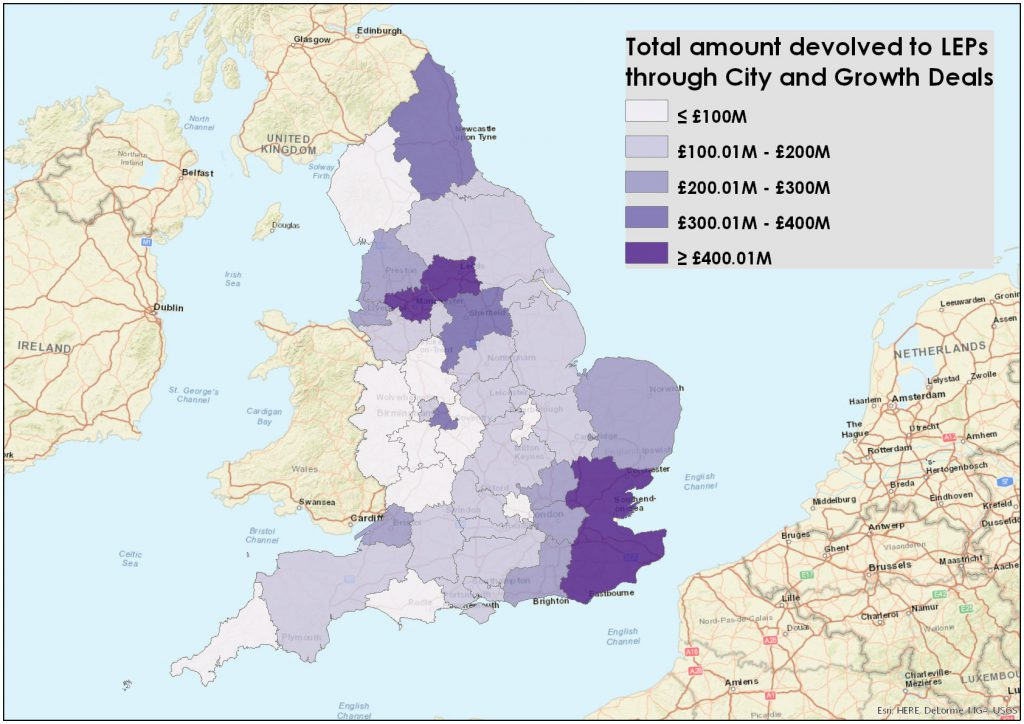Figure 2: Distribution of City & Growth deal funding, by LEP