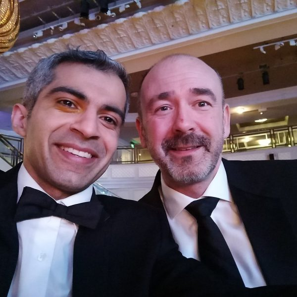 Deven Ghelani and Mark Fowler, Croydon Council, celebrating at LGC Awards 2017