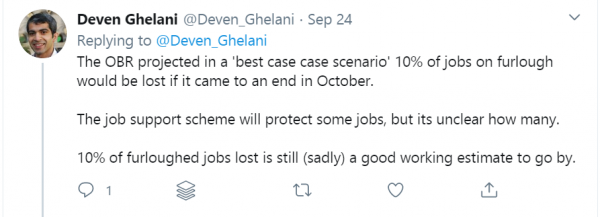 Image of a tweet from @Deven_Ghelani giving his immediate analysis of the Chancellor's Winter Economy Plan