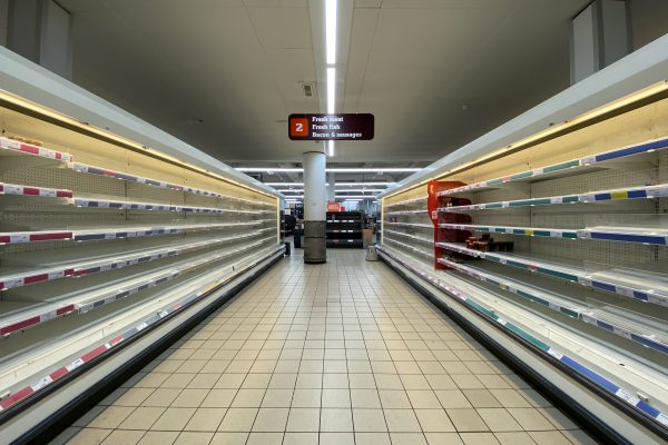 Photo of empy supermarket shelves to illustrate how to support vulnerable people through the Coronavirus (COVID-19) crisis